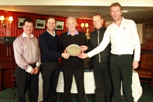 Bill Rushby presenting first prize to joint winners Danny Sugrue, David Higgins and David Whyte at the Waterville Munster PGA Pro-Am, also included is Liam Burns, Captain Munster PGA. Picture: Niall O'Shea
