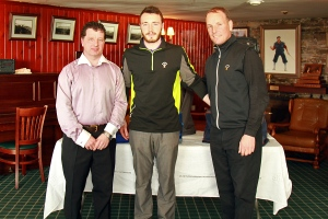 Munster PGA Captain Liam Burns pictured with Liam Higgins and David Higgins, winners of the Munster PGA Pro-Am at Waterville. Picture: Niall O'Shea