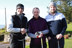 Simon Keelan (Monkstown), Ger Brooderick (Kinsale) and Davey Barry (Douglas) pictured at the Munster PGA Captain's Prize at Youghal Golf Club. Picture: Niall O'Shea