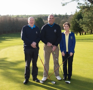 Lisselan Golf Club Captain's drive-in 31st January 2015 L to R; John O'Mahony Gents Club President, Denis Dullea Captain, Louise Cavanagh Lady Captain