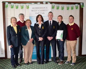 Pictured at the Pay As You Golf launch, Skibbereen & West Carbery Golf Club, were (L-R): Lady president Margaret Foley, President Brendan Hamilton, ILGU official Marion Pattenden, Lady captain Una Murray, Captain Frank Ryan, the club's first Pay As You Golf member Liam O'Brien, course record holder Kieran Lynch. Picture: Aoife Hodnett O'Brien