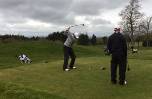 Tournament leader Dave O'Donovan  Picture Golf: Paul Coleman ‏@Coleman_Golf
