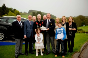 Current Muskerry Captain David Taylor pictured with his family when he won the 2011 Ford Junior Open Trophy.  The challenging matchplay competition gets underway tomorrow. Picture: Mike English.