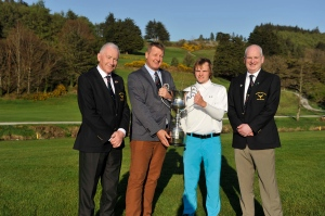 Shane Sadler, sponsor, presenting the Muskerry Senior Scratch Cup to Conor Coyne, Youghal Golf Club, following his victory on Saturday last. Included are Seamus O'Brien, President and David Taylor, Captain at Muskerry GC. Picture: Mike English