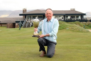Tom Cleary, Cork Golf Club, pictured with Munster Seniors Amateur Open Trophy at Waterville Links. Picture: Niall O'Shea