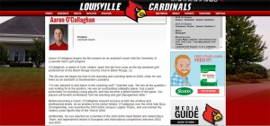 Aaron O'Callaghan's profile on the University of Loiusville website (http://www.gocards.com/sports/m-golf/mtt/aaron_ocallaghan_915377.html)