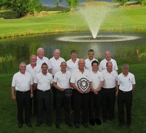 Blarney Golf Club Minihane Shield 2015 winners L-R Billy Barry, Larry Buckley, President Eamonn Forrest, Team captain Colum Sisk, Club captain Edward Butt, Paul O'Neill, Des Kelly, Back row: DJ McCarthy, Denis Keeshan, Jack Holland, JJ Cronin, Jerry Keady and Dick Ryan. The shield was played in Blarney Golf Resort on Monday, June 22, 2015.