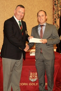 Fergal Deasy, Captain Cork Golf Club presenting first prize to Cian McNamara (Monkstown GC) at the Cork Pro-Am. Monday 10th August 2015. Picture: Niall O'Shea l Cork Golf News
