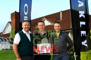 Ger Halligan, winner of the Oakley Open Singles Series Final at Lee Valley Golf Club, pictured with Paul Keohane (Lee Valley) and Kieran O'Connor (Oakley). Monday 21st September 2015. Picture: Niall O'Shea