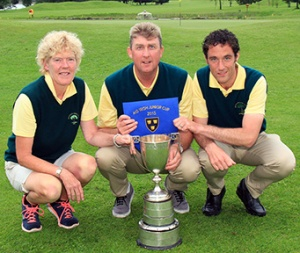 The Douglas Junior Cup Management team of Eavan Higgins, Derek Byrne and Stephen Hayes pictured after winning the Munster title in Dungarvan Golf CLub Picture: Niall O'Shea