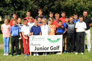 Golfers pictured at the final of the Irish Junior Masters Golf Tour at Fernhill Golf Club on Saturday.  Also included is funder Wayne O'Callaghan. Picture: Niall O'Shea
