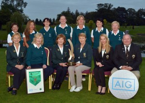 Valerie Hassett (President, ILGU) with the Lee Valley Team winners of the Intermediate Cup at the 2015 AIG Ladies Cups and Shields Finals at Knightsbrook Golf Club today (25/09/2015) . Picture by Pat Cashman