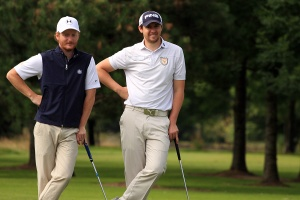 Muskerry's Shane Whooley and Daniel Hallissey pictured during the Munster Final of the AIG Barton Shield in Dungarvan Golf Club Picture: Niall O'Shea