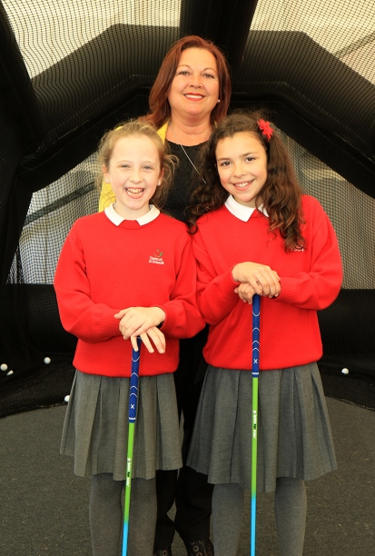Sinead ni Riann and Ceoli ni Longain pictured with Anita ni Longain at the CGI Interactive Zone at the Dubai Duty Free Irish Open. Picture: Niall O'Shea