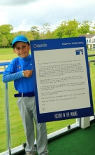 Sean Reddy pictured with the letter that won him a behind the scenes VIP tour at the Dubai Duty Free Irish Open. Picture: Niall O'Shea