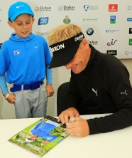 2015 Itish Open Champion Soren Kjeldsen signing a programme for Sean Reddy during his behind the scenes tour at the Dubai Duty Free Irish Open at the K Club. Picture: Niall O'Shea