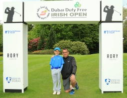 Sean Reddy pictured with his Dad Simon at the Dubai Duty Free Irish Open. Picture: Niall O'Shea