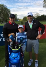 Rory McIlroy and caddy JP Fitzgerald pictured with Sean Reddy at the Dubai Duty Free Irish Open practice day.