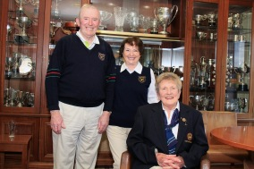 Maureen O'Reilly, Muskerry Lady Captain 1995 pictured with her husband Bob and Alice O'Donovan at the launch of Muskerry's Bruen Open Week. Picture: Niall O'Shea
