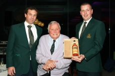 Captain Tony Loughnane and Vice President JP Twomey present Honorary President Peter Alliss with a bottle of Midleton Very Rare following his visit to Castlemartyr Links Golf Club Picture: Niall O'Shea