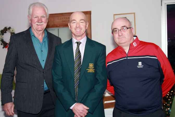 Larry O'Toole, Tommy Hartnett and Michael Lee pictured at the Peter Alliss evening in Castlemartyr Golf Club. Picture: Niall O'Shea