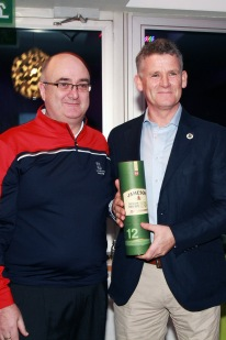 Vice Captain Michael Lee presents Greg Allen with a gift following the very successful members evening with Peter Alliss at Castlemartyr Links Golf Club. Picture: Niall O'Shea