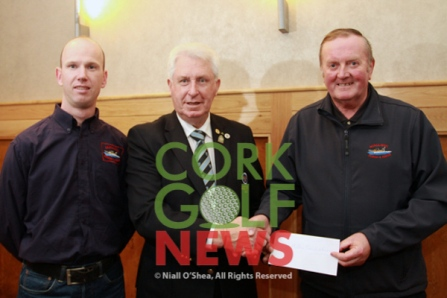 Munster Golf Chairman John Moloughney presents a cheque to Emmet Murphy and Willie Walsh from Mallow Search & Rescue, Munster Golf's nominated charity for 2016. Picture: Niall O'Shea