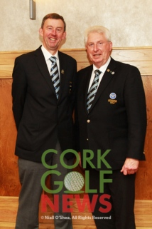 Newly elected Chairman of Munster Golf Jim Long (Monkstown) pictured with outgoing Chairman John Moloughney. Munster Golf Annual Delegates Meeting, Tuesday 29th Nov 2016, Hibernian Hotel Mallow. Picture: Niall O'Shea
