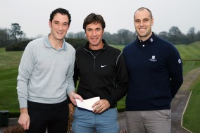 Munster PGA Captain Stephen Hayes presents Tim Rice with first prize from the TaylorMade singles along with Brady Sherwood from Castlemartyr Links. Picture: Niall O'Shea