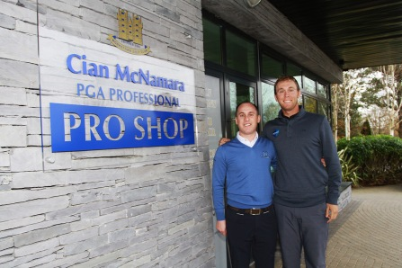 Monkstown PGA Professional Cian McNamara pictured with PGA Tour member Seamus Power on his visit to Monkstown Golf Club. Picture: Niall O'Shea