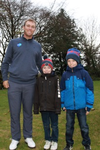 Seamus Power pictured with Cian and Donal McDonnell at the Monkstown Pro Shop Junior Clinic. Picture: Niall O'Shea