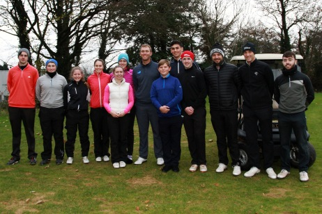 Golfers pictured with Seaus Power after the Monkstown Pro Shop Junior Clinic. Picture: Niall O'Shea