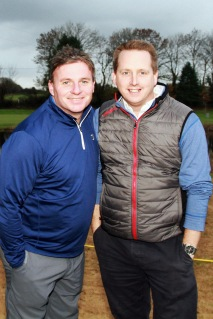 Donal Delaney adn Richie Dunlea pictured at the Seamus Power golf clinic at Monkstown Golf Club. Picture: Niall O'Shea