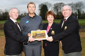 PGA Tour Golfer Seamus Power receiving a momento of his visit to Monkstown Golf Club from President Colm Ó Riain, Lady Captain Triona O'Loughlin and Captain Martin Walsh. Picture: Niall O'Shea