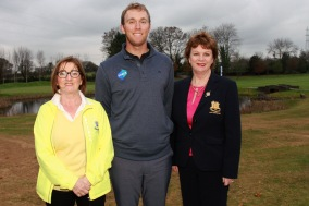 Seamus Power pictured with Dee McCarthy and Triona O'Loughlin, Lady Captain at Monkstown Golf Club. Picture: Niall O'Shea
