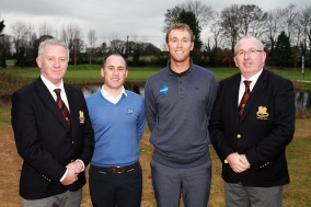 Seamus Power pictured with Monkstown President Colm Ó Riain, Club Professional Cian McNamara and Monkstown Captain Martin Walsh. Picture: Niall O'Shea
