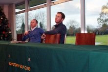Cian McNamara and Seamus Power answering questions at the clinic run by the PGA Tour golfer. Picture: Niall O'Shea