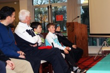 Jeff Murphy asks a question at the Seamus POwer clinic at Monkstown Golf Club.