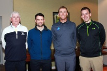 Seamus Power pictured with Pat O'Keeffe, Martin Poucher and Eoghan Long, after his Q&A session at Monkstown Golf Club. Picture: Niall O'Shea