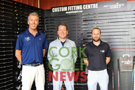 Frankfield's David Whyte and Michael Ryan pictured with John McSweeney from McGuirks at the new custom fitting bay at Frankfield Golf Academy. Picture: Niall O'Shea