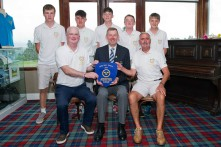 Jim Long Munster Golf presenting the Fred Daly Trophy Munster winners Muskerry with their Pennant, included are golfers Stephen O'Riordan, Fionn Hickey, Sean Geary, Jack Taylor, Eoghan O'Shaughnessy. Team Captain Dave Taylor and Team Manager Peter Fenlon Pic: Dave McCarthy