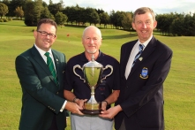Nigel Duke (Killiney) receiving the Munster Seniors Amateur Open trophy from Pat Power (Captain, Lee Valley) and Jim Long (Chairman, Munster Golf). Picture: Niall O'Shea
