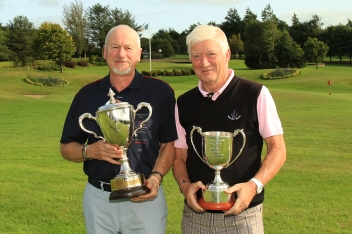 Nigel Duke (Killiney) winner of the Munster Seniors Amateur Open pictured with Maurice Kelly (Naas) who won the Munster Veterans Trophy at Lee Valley. Picture: Niall O'Shea