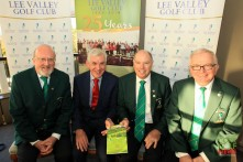 Authors Tim Ellard, Tadgh Nash, Brendan Lyons and Declan Farrell pictured at the launch of the 25th Anniversary book at Lee Valley Golf Club. Picture: Niall O'Shea
