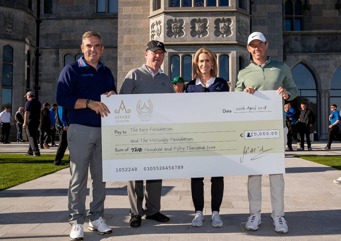 Paul McGinley and Rory McIlory pictured receiving a cheque for €250,000 from sponsor, JP McManus and Sue Ann Foley 20/4/2018