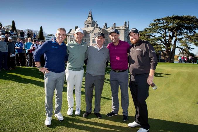 Paul McGinley, Rory McIlroy, JP McManus, Padraig Harrington and Shane Lowry after the round of golf 20/4/2018