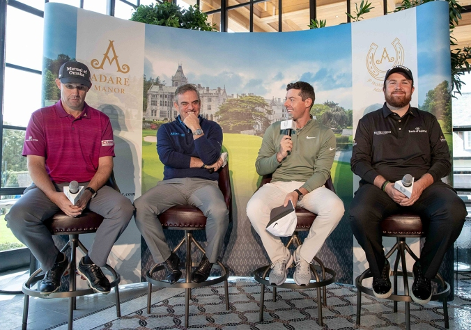 Padraig Harrington, Paul McGinley, Rory McIlroy and Shane Lowry pictured at The Golf Course at Adare Manor 20/4/2018