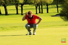 Alan Fahy on the 18th green in the final round of the Munter Strokeplay in Cork Golf Club. Picture: Niall O'Shea
