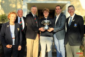 Munster Strokeplay winner Alan Fahu (Dun Laoghaire GC) receiving the Cork Scratch Cup from Jerome O'Donovan, Captain Cork GC and Jason O'Callaghan, Ryans Super Valu. Also included are Lady Captain Maeve Russell, President Tom Griffith and Jim Long, Chairman Munster Golf. Picture: Niall O'Shea