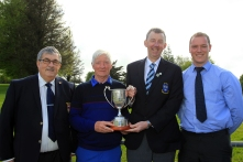 Maurice Kelly (Naas) receiving the Munster Veterans trophy from Jim Long, Chairman Munster Golf. Also included are Bernard Hanrahan, Captain Ennis Golf Club and Patrick Treacy from Treacy's West County Hotel Ennis. Picture: Niall O'Shea